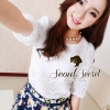 Set Blouse Crown Lace match with Colorful Print Short by Seoul Secret