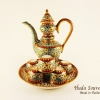ของขวัญปีใหม่ให้ลูกค้า ชุดน้ำชาเบญจรงค์ ขนาดกลาง ทรงสุโขทัย ลายจักรีเต็มใบ ลายเนื้อนูนเคลือบเงา