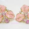 ต่างหูดอกไม้สี่ชมพู Pink Flower Earrings