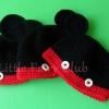 หมวกถักหูหมีดำแดง