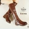 957) พร้อมส่ง!! Snow Boots ซิปข้าง เข็มขัดล่าง ซับในขนสั้น