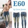 รหัส E60 กางเกงยีนส์เอวต่ำขายาว สีฟ้าอมเขียว ขาดหน้าขา / ผ้ายืด