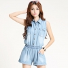ชุดจั๊มสูท แฟชั่นเกาหลี ผ้ายีนส์สีฟ้า