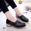 K01 รองเท้าคัชชู หนัง pu แต่งให้ดู สีคลาสสิก ส้นตัดสีไม้