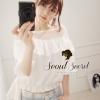 Chic White Blouse Lace Top Puff Sleeve by Seoul Secret