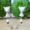 ต่างหูดินปั้น สุนัขจิ้งจอกสีขาว Cutie white fox Earrings