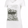 เสื้อทีเชิ้ตผู้หญิงแมนเชสเตอร์ ยูไนเต็ด สกรีนรูปสนามโอลแทร็ฟฟอร์ดสีขาว