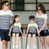เสื้อครอบครัว - เสื้อยืดแขนสั้นสีขาวลาย แต่งคาดสีเขียว