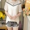 เสื้อแฟชั่นเกาหลีแต่งวีไลน์ เว้าไหล่ สีขาว