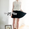 Lady Ribbon's Made Lady Maria Contrast Black and White Chiffon Mini Dress