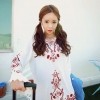 Vintage flower red embroidery long sleeved Blouse style korea