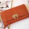 กระเป๋าเงินใบยาว แบรนด์ MUSE สีส้มอิฐ งานหนังแท้ทั้งใบ แบบเก๋ตรงหัวล็อค งาน Hand Made