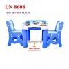 โต๊ะเอนกประสงค์มาพร้อมเก้าอี้2ตัว(มีลิ้นชัก2อัน) สีฟ้า