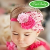 ผ้าคาดผมเด็กขนนก Princress สีชมพูประดับดอกไม้ผ้าฝังเพชร