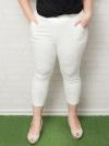 กางเกงขาห้าส่วนสีขาวแต่งรอยขาด