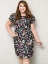 ชุดเดรสทำงานสาวอวบแขนสั้นผ้าโพลีเอสเตอร์สีดำพิมพ์ลายดอกไม้สีสันสดใส