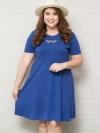 ชุดเดรสสาว Plus Size แขนสั้นผ้ายืดสีน้ำเงินแต่งหัวใจซีทรูด้านหลังแต่งสายไขว้เล็กๆ