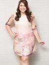 ชุดเดรสทำงานสาวอวบผ้าชีฟองแขนสามส่วนสีชมพูพาสเทลพิมพ์ลายดอกไม้บุซับใน