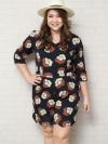 จั๊มสูทสาวอวบแขนสั้นผ้าโพลีเอสเตอร์สีกรมท่าพิมพ์ดอกไม้ติดยางยืดช่วงเอวมีกระเป๋าสองข้าง