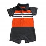 ชุดเด็กเปิดเป้าจั๊มสูท Carter's โปโลลายริ้ว สีเทาส้ม มีขนาดแรกเกิด ถึง 12 เดือน