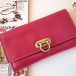 กระเป๋าเงินใบยาว แบรนด์ MUSE สีชมพู งานหนังแท้ทั้งใบ แบบเก๋ตรงหัวล็อค งาน Hand Made