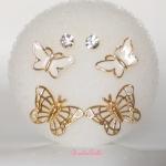 ต่างหูผีเสื้อ เพชร ชุด3คู่สุดคุ้ม (Trio Butterflies Earrings)