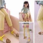 กางเกงผ้ายืด ปักหน้า Kitty *เหลือง* ไซส์ 9