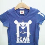 เสื้อยืดแขนสั้น สีฟ้าอมม่วง สกรีนลายหน้าหมีสีขาว ไซส์ 120