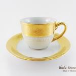 ของที่ระลึก แก้วกาแฟเบญจรงค์ ทรงกลมลวดลายโบตั๋นน้ำทอง เคลือบเงา
