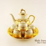 ของขวัญปีใหม่ ชุดน้ำชาเบญจรงค์ ทรงกาเชอรรี่ขนาดกลาง สีเบญจรงค์ทองสร้อยลวดลายโบตั๋น ลายเนื้อนูนเคลือบเงา
