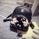 [ เปิดจอง พร้อมส่ง 30/8/16 ] - กระเป๋าเป้แฟชั่น นำเข้าสไตล์เกาหลี สีดำคลาสสิค พิมพ์ลายดอกไม้สีขาว ทรงเก๋ ๆ ใบกลางสะพายหลัง มีช่องใส่เยอะ ห น่ารักมากๆค่ะ
