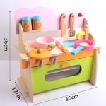 ของเล่นไม้ ชุดเคาวน์เตอร์ครัว พร้อมชุดทำอาหารครบเซต เสริมพัฒนาการ