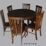รหัส Maisak00203 ชุดโต๊ะกินข้าวไม้สัก 120X80 ซม. พื้นโต๊ะหนา 1 นิ้ว เก้าอี้ กว้าง 37 ซม. ยาว 37 ซม. สูง 95 ซม. โต๊ะกลาง เส้นผ่าศูนย์กลางยาว 120 ซม. สูง 80 ซม.