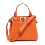 [ พร้อมส่ง ] - กระเป๋าแฟชั่น กระเป๋าถือ&สะพาย สีส้มสุดจี๊ด ไซส์มินิ สุดฮิตหนังสวย หัวบิดหน้าหลัง 2 ช่องใส่ของ มีสายสะพายยาวปรับระดับได้ค่ะ