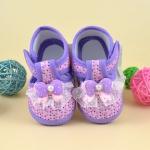 รองเท้าเด็กทารกหญิง โบว์สีม่วง น่ารัก