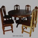รหัส Maisak00204 ชุดโต๊ะกินข้าวไม้สัก 120X80 ซม. พื้นโต๊ะหนา 1 นิ้ว เก้าอี้ กว้าง 37 ซม. ยาว 37 ซม. สูง 95 ซม. โต๊ะกลาง เส้นผ่าศูนย์กลางยาว 120 ซม. สูง 80 ซม.