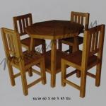 รหัส Maisak00201 ชุดโต๊ะกินข้าวไม้สัก 60X60X45 ซม.  เก้าอี้ กว้าง 37 ซม. ยาว 37 ซม. สูง 95 ซม. โต๊ะกลาง กว้าง 60 ซม. ยาว 60 ซม. สูง 45 ซม.