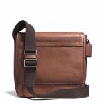 กระเป๋าผู้ชาย COACH CAMDEN LEATHER MAP BAG GUNMETAL/CLASSIC TOBACCO F71346