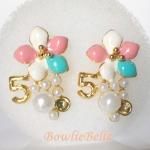 ต่างหูดอกไม้พาสเทล Pastel Coloring Earrings