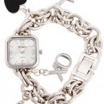 นาฬิกา XOXO Women's XO7026 Silver Dial Silver-tone Charm Bracelet Watch