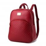 [ พร้อมส่ง ] - กระเป๋าเป้แฟชั่น สไตล์ยุโรป สีแดงเข้ม ปั้มลายตาราง ดีไซน์สวยเรียบหรู งานหนังคุณภาพ เหมาะสำหรับสาวๆ ที่ชอบงานมีสไตล์เป็นของตัวเอง