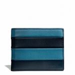 กระเป๋าสตางค์ผู้ชาย COACH BLEECKER BAR STRIPE LEATHER SLIM BILLFOLD ID WALLET F74720