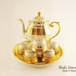 ของที่ระลึก ชุดน้ำชาเบญจรงค์ กาดอกบัวขนาดกลาง ลวดลายโบตั๋นเบญจรงค์ทองสร้อย ลายเนื้อนูนเคลือบเงา