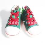 รองเท้าเด็ก รองเท้าผ้าใบหุ้มข้อ มีซิปข้าง สีเขียว ขนาด 14.5cm / 15cm