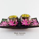 ของฝากจากไทย เชิงเทียนไม้ ที่ใส่เทียนหอม ลูกกลมคู่ พร้อมไม้จานรอง เพ้นท์ลายดอกไม้ วัสดุทำจากไม้
