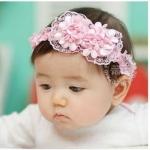 ผ้าคาดผมเด็กอ่อน โบว์ช่อดอกไม้ สีชมพู