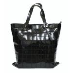 [ พร้อมส่ง ] - กระเป๋าแฟชั่น สะพายไหล่ งานหนัง PU แบบสีดำเมทาลิค ใบกลาง เย็บตารางสี่เหลี่ยม ดีไซน์แบบสวยหรู สุดฮิตโดดเด่นไม่ซ้ำใคร