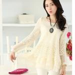 (Pre order)New Long Korean sweetเสื้อแขนยาว ระบายแขนโปร่ง สีครีม