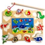 ของเล่นไม้ ชุดตกปลา จิ๊กซอ Magnetic fishing puzzle board