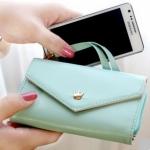 [ พร้อมส่ง ] - กระเป๋าสตางค์แฟชั่น สไตล์เกาหลี สีฟ้าอ่อน ใบกลาง(รุ่นใหม่) แต่งมงกุฎ งานสวยน่ารัก น่าใช้มากๆค่ะ
